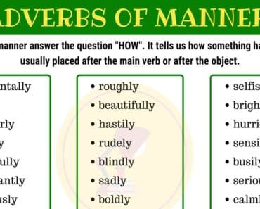 List of Adverbs of Manner in English 5