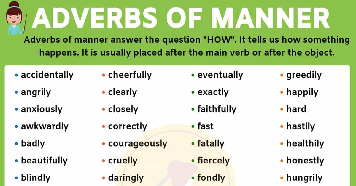 An Important List of Adverbs of Manner You Should Learn! 1