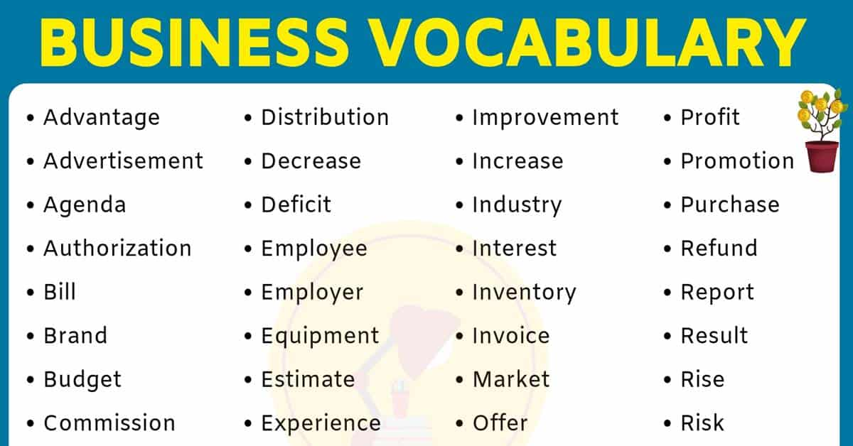 Business Words | List of 50+ Important Words Used in Business 1