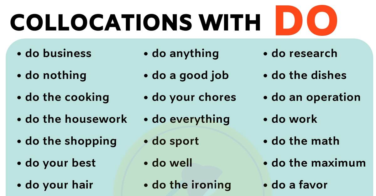 List of 40 Important Collocations with DO in English 1