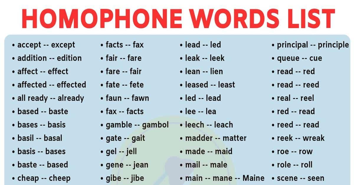 Homophones List: 400+ Common Homophones in English for ESL Learners! 5