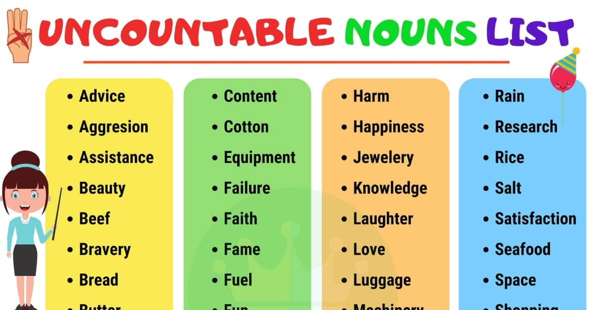 List of Common Uncountable Nouns in English 1