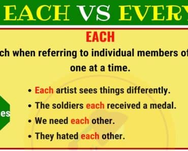 EACH vs EVERY : What are the Differences? 5