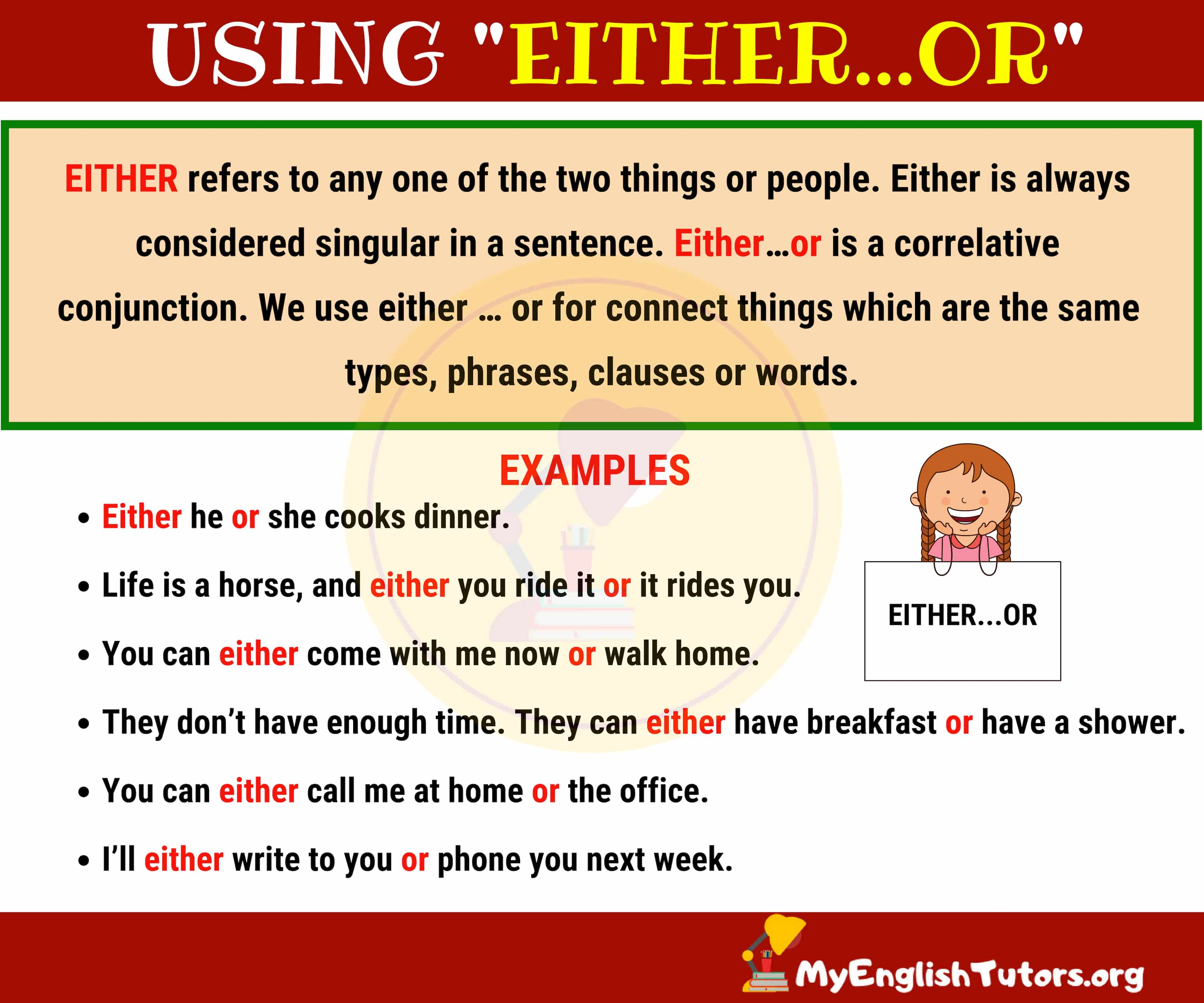 How to Use EITHER...OR in English