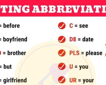 Popular Texting Abbreviations in English 1