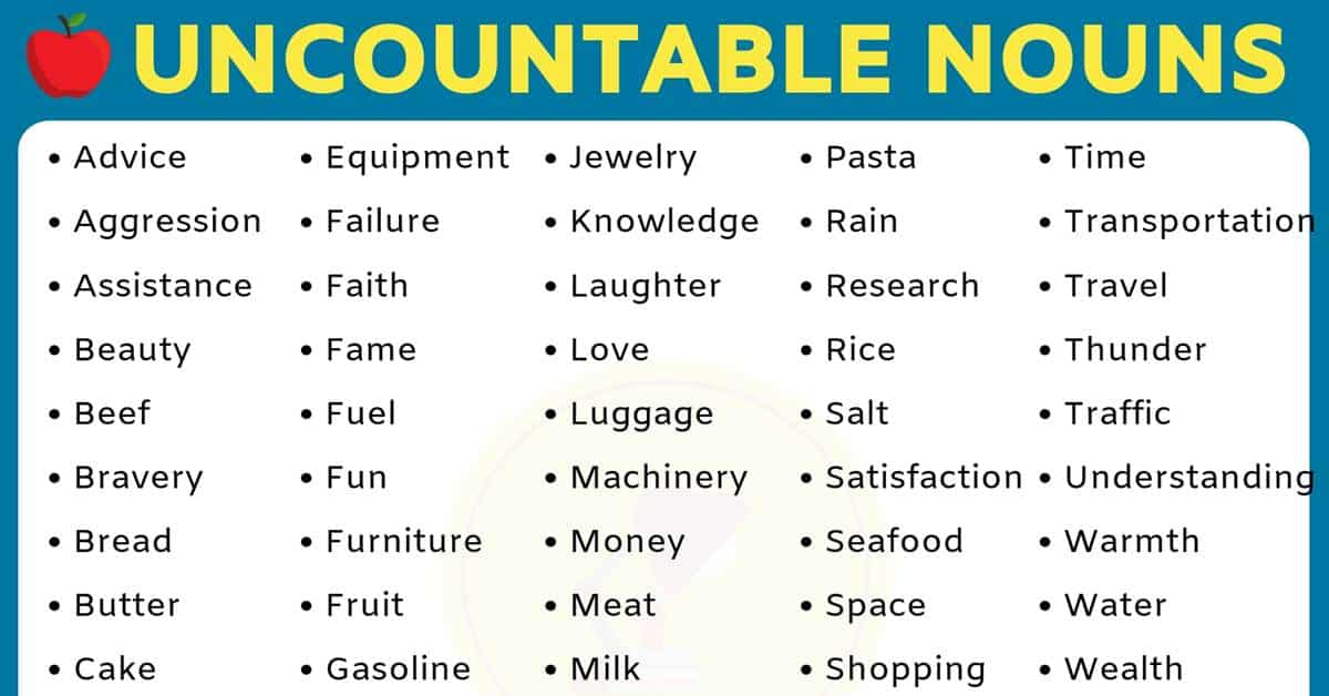list of 75 important uncountable nouns in english