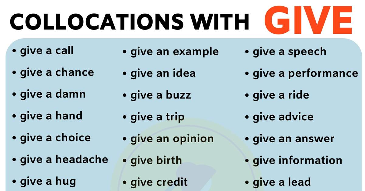 40+ Common English Collocations with GIVE 2