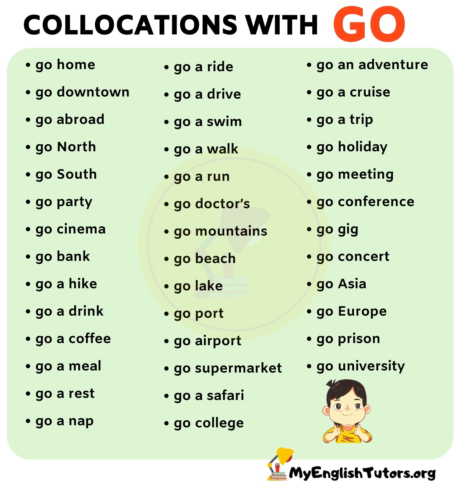 List Of 40 Important Collocations With Go In English My English Tutors