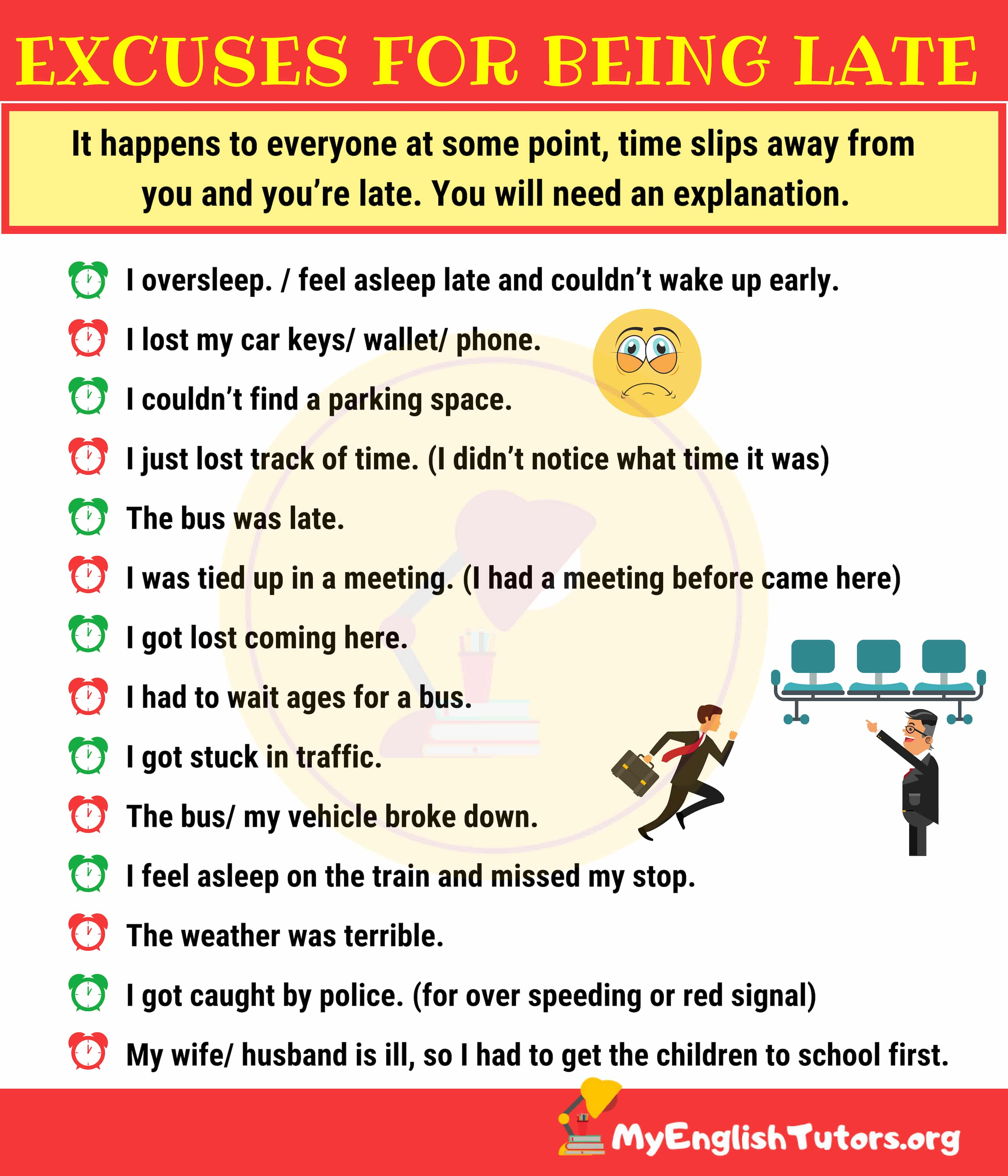 15 Excuses for Being Late in English