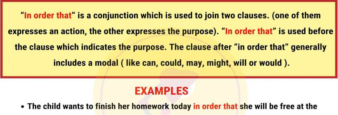 IN ORDER THAT: Usage and Examples 2