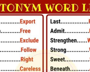 List of 180 Antonyms in English 7