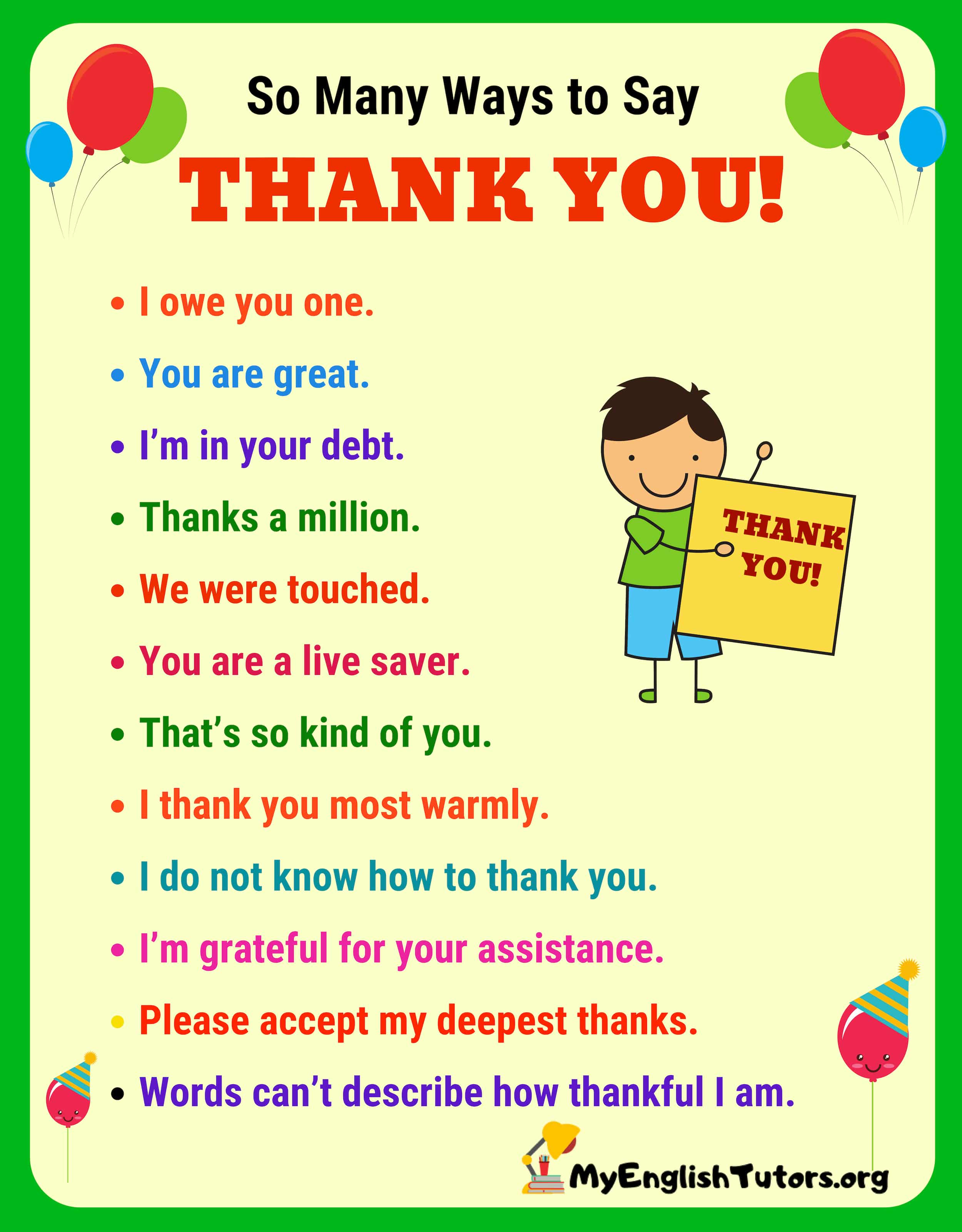 So Many Ways to Say THANK YOU