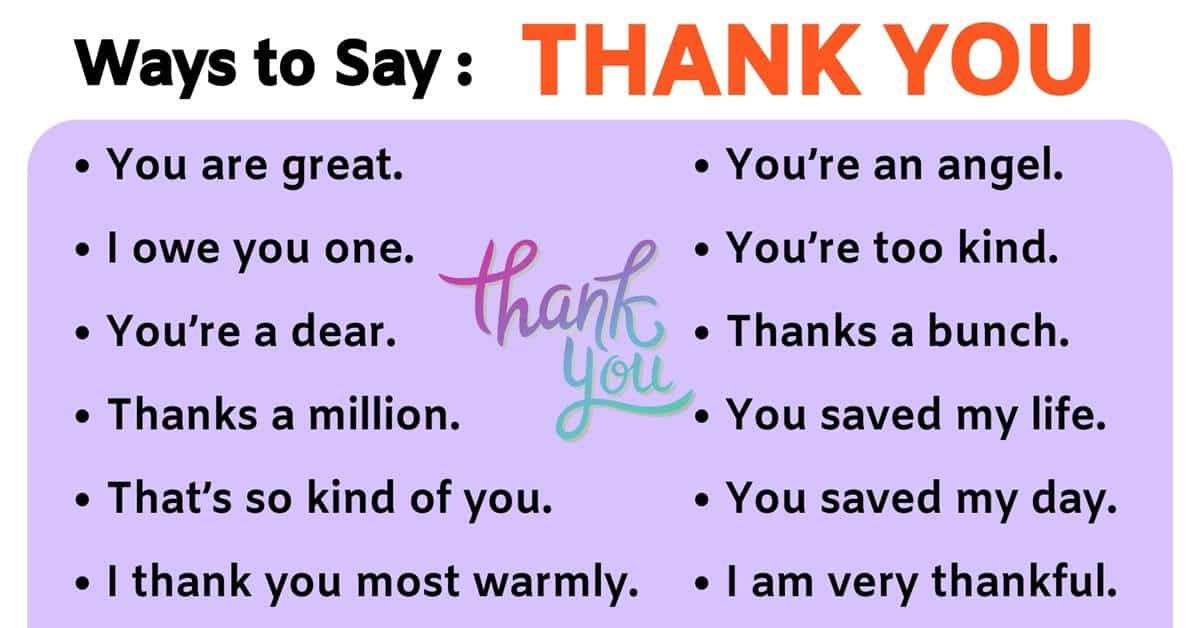 Thank You Synonym: 41 Power Ways to Say THANK YOU 1