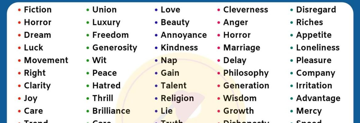 List of 100 Useful Abstract Nouns in English You Should Learn!! 3
