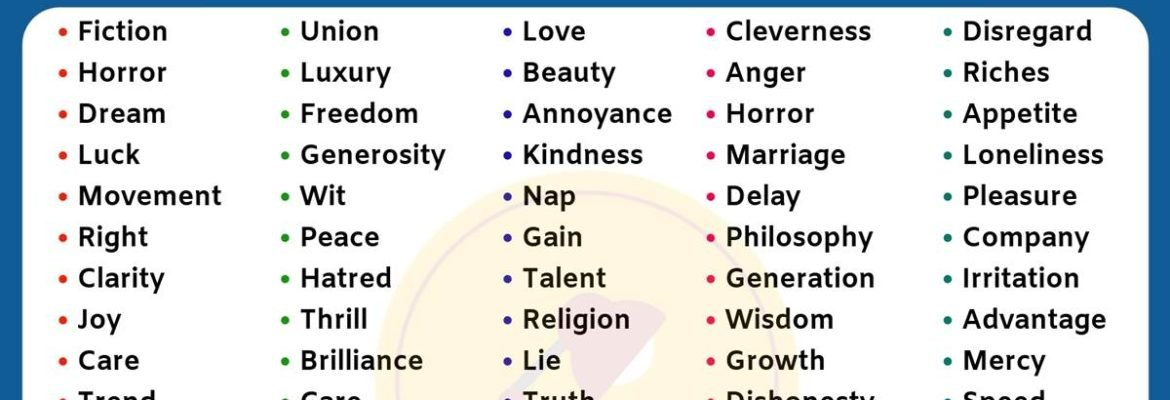 List of 100 Useful AbstractNouns in English You Should Learn!! 3