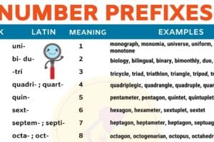 List of Common Number Prefixes in English 12