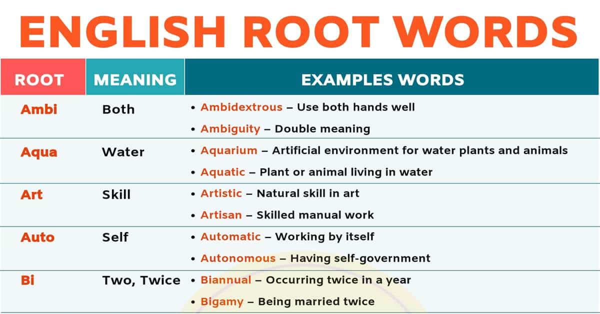 Root Words: Boost Your English Vocabulary With 45 Root Words 1