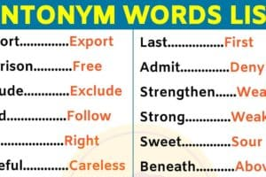 List of 180 Important Antonyms Examples For ESL Learners! 11