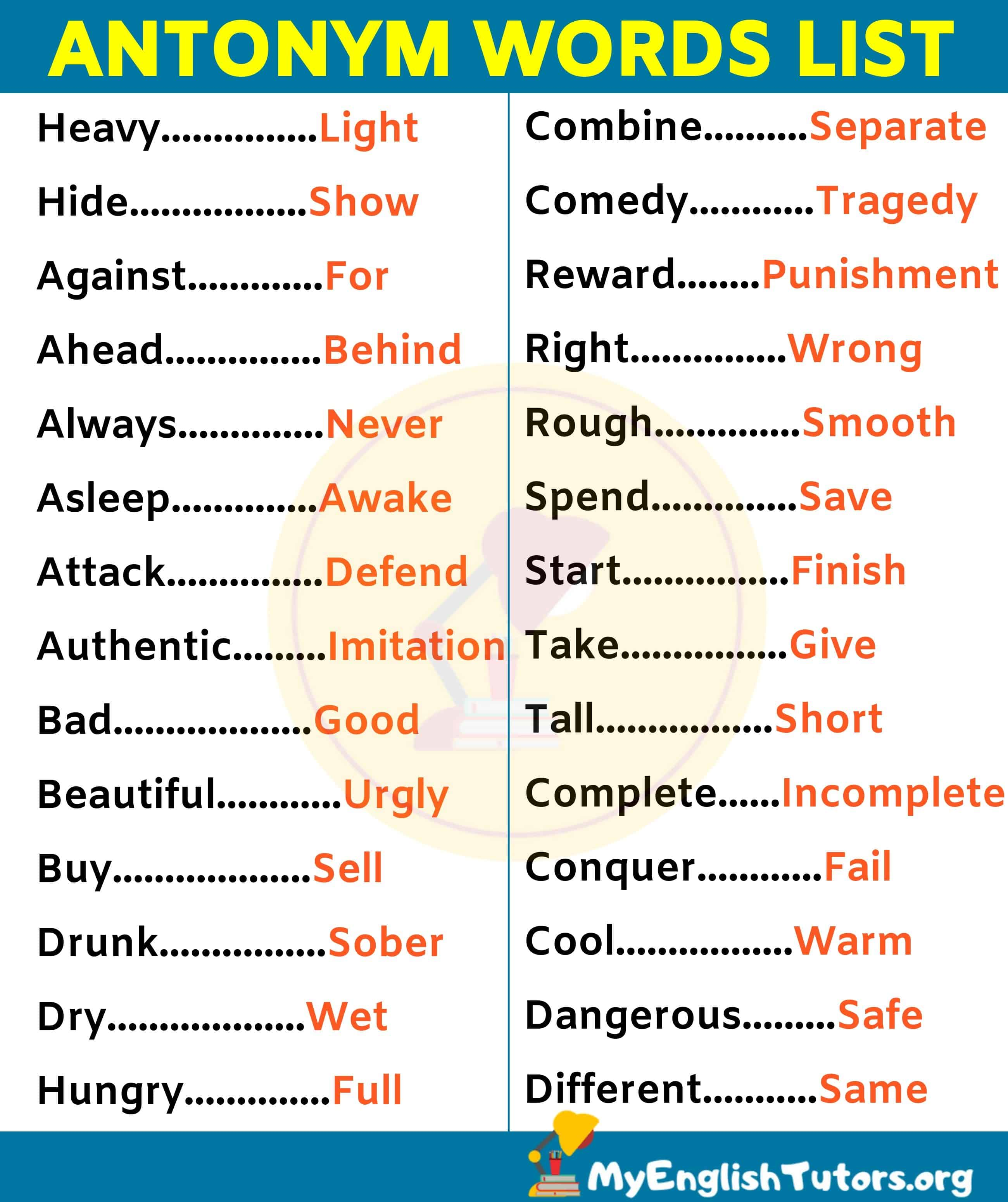 List of 180 Important Antonyms Examples For ESL Learners!