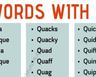 "Words With Q: List of Common English Words with The Letter ""Q"" 2"
