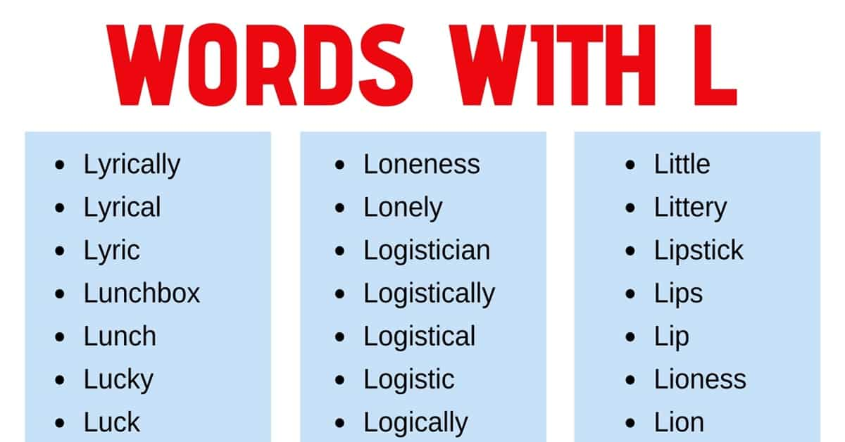Words that Start with L: List of 180 L Words with Useful Examples 1