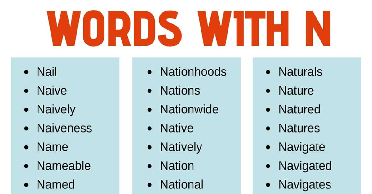 Words that Start with N: List of 140+ Words that Start with N with Useful Examples 1