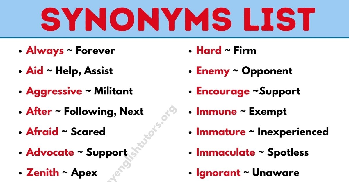 Synonym: List of 300+ Synonym Words List with Example Sentences 1