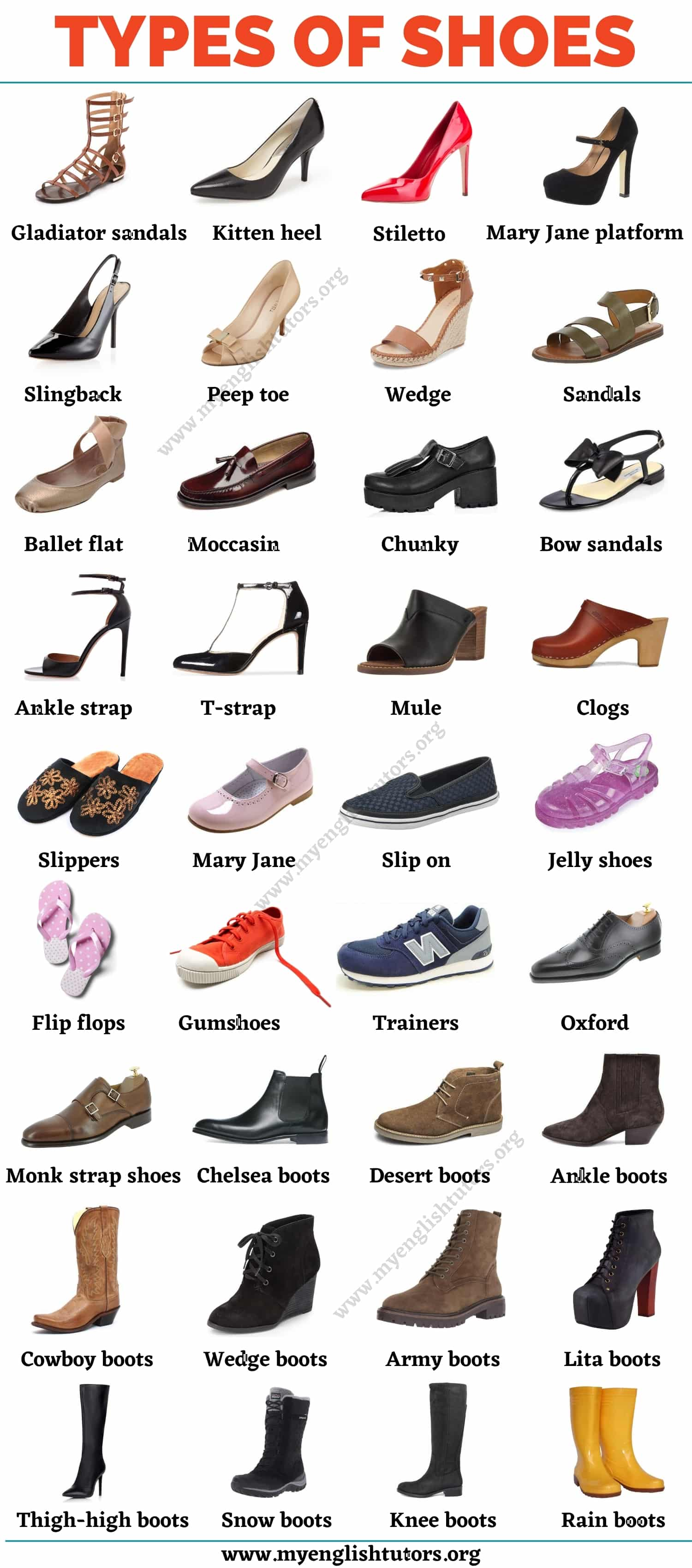 Types of Shoes: List of 35+ Shoe Styles with the Picture!