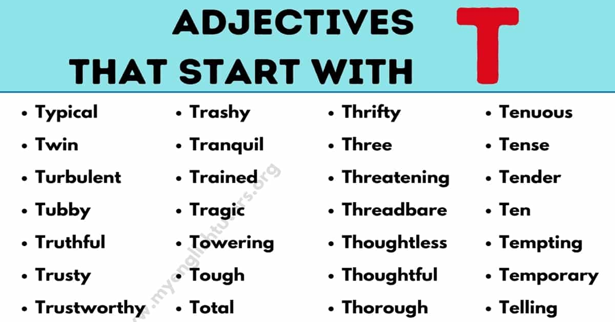 Adjectives that Start with T: List of 80+ Common Adjectives Starting with T 5