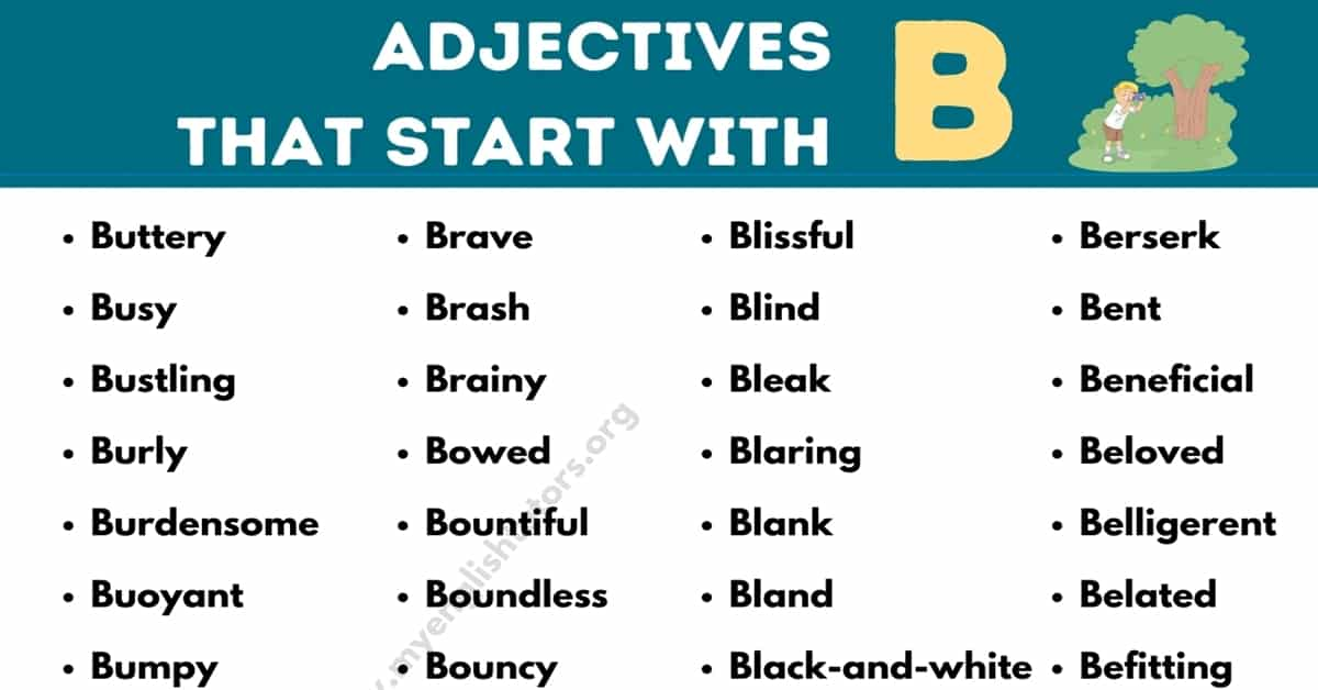 Adjectives that Start with B: List of 80+Useful Adjectives Starting with B 2