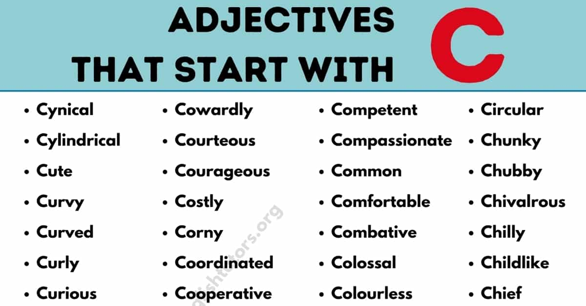 Adjectives that Start with C: List of 100+ Useful Adjectives Starting with C 4
