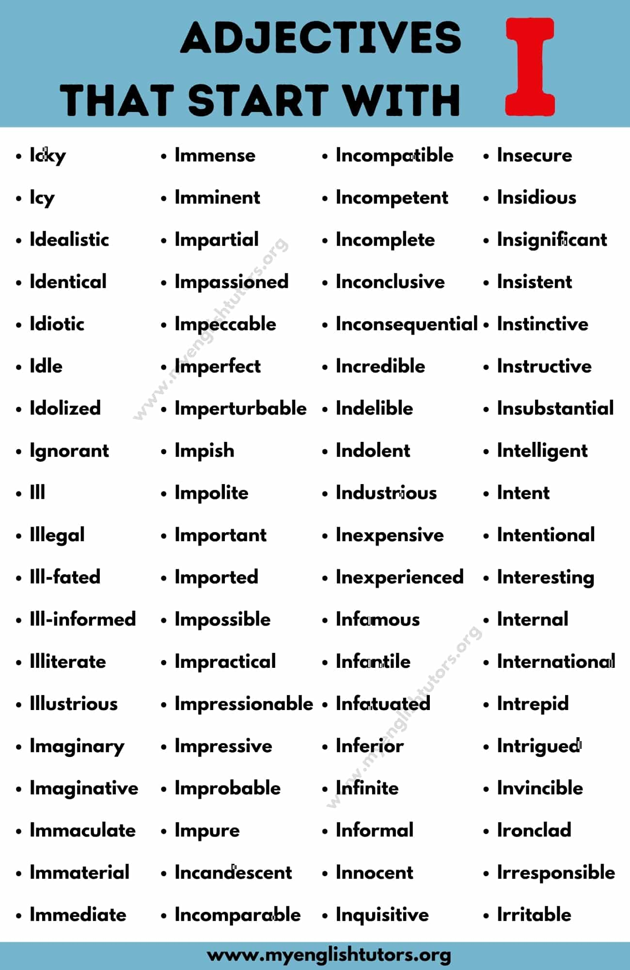 Adjectives that Start with I: List of 80+ Useful Adjectives Starting with I
