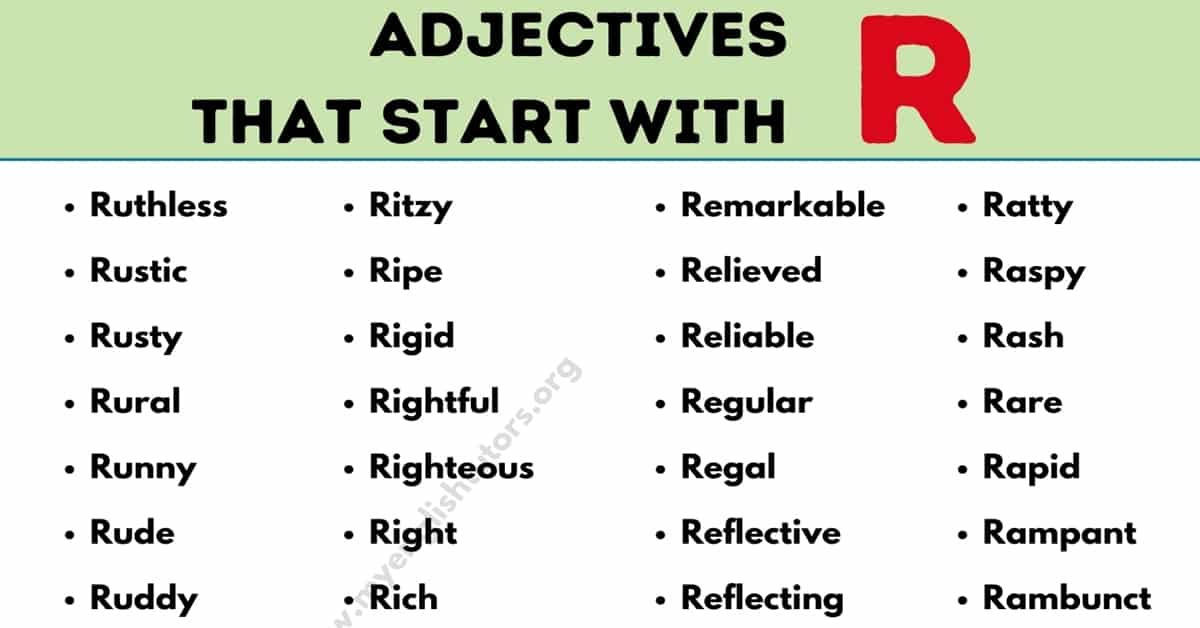 Adjectives that Start with R: List of 72 Useful Adjectives Starting with R 3
