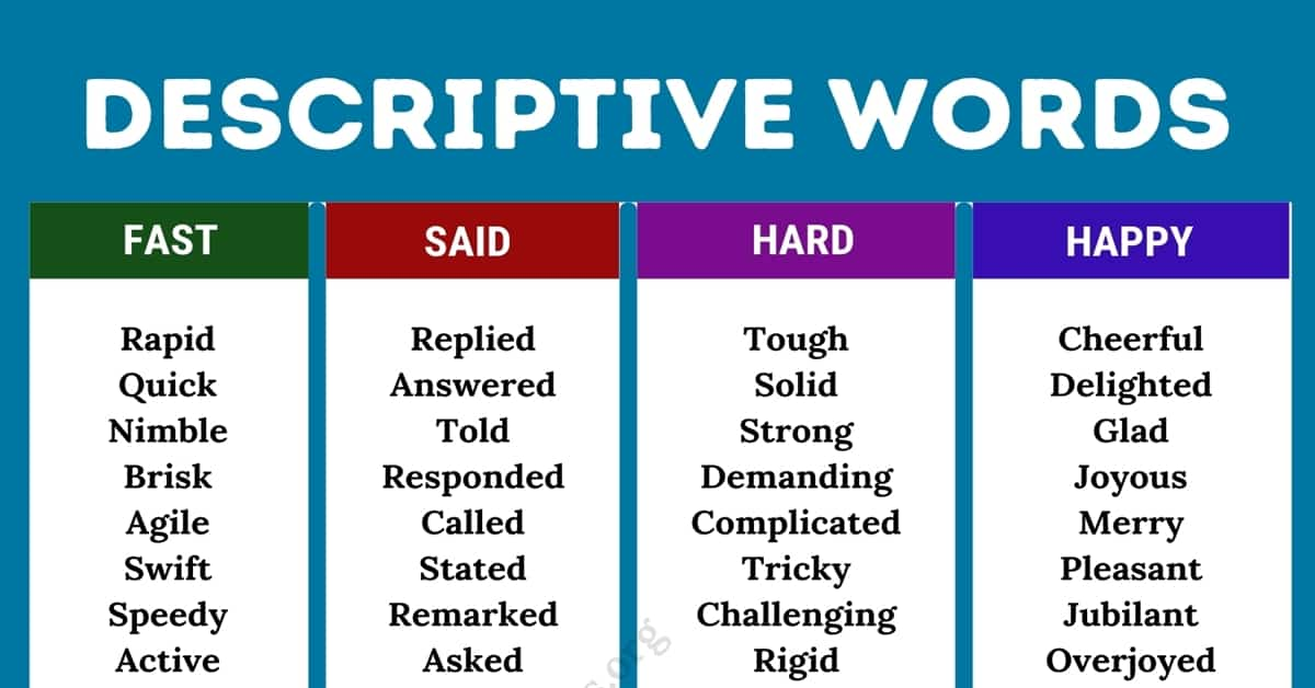 What Are Descriptive Words? List of Descriptive Words and Their Synonyms 1